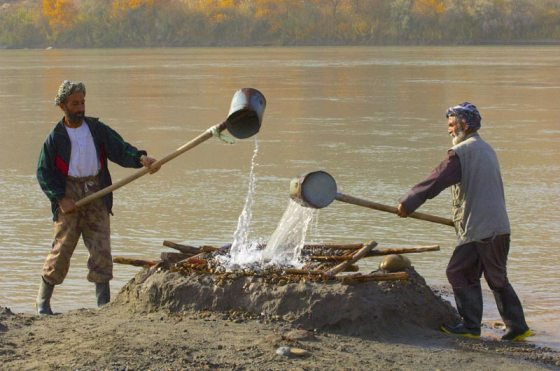 Miners sluice water over goat skin cut to sieve gold, (A golden Fleece?) Oxus River (Amu Darya), Takhar, Afghanistan